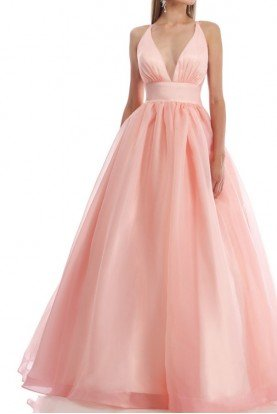 Deep V Pale Pink Gown Dress 9019