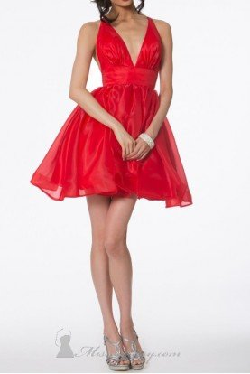 Radiant Deep V Red Bow Party Dress