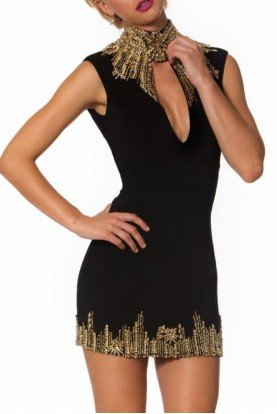 Keyhole Embellished Cocktail Dress Black 9034