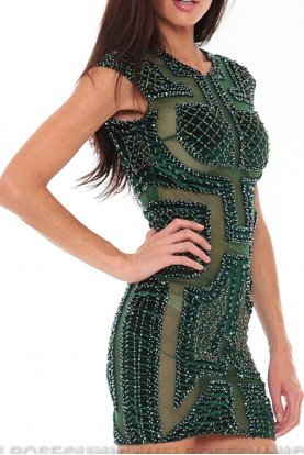 Sheer Sheer Beaded Emerald Dress