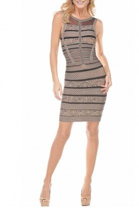 Musani Striped Nude Black Bandage Cocktail Dress
