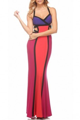 Mignon Colorblock Evening Dress Gown VM1443