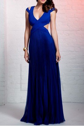 HY1223 Royal Blue Cutout Evening Gown Dress