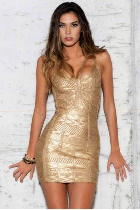 Glowing Gold Bandage Dress