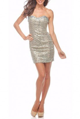 Dazzling Silver Sequin Cocktail Dress