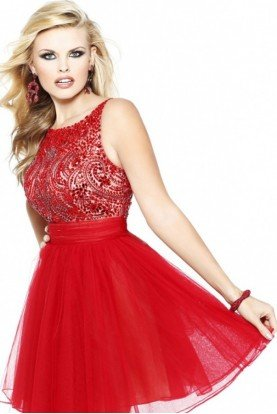 Short Red Sparkle Dress Homecoming Open Back 11032