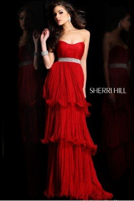 Ruby Red Layered Pleated Ruffle Elegant Gown 1903