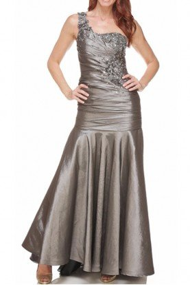 Silver Mermaid Ruched Formal Dress Mother of Bride Prom
