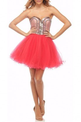 Coral Beaded Sweetheart A Line Tulle Dress P0009