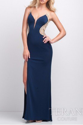 Terani Couture Navy Cobalt Sheer Open Back Gown P0059