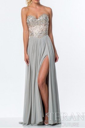 Crystal Covered Silver Corset Gown High Slit P0036