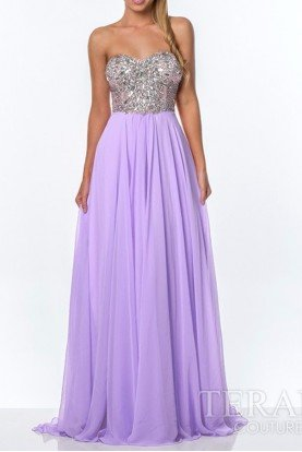 Terani Couture Laced Glamor Gown Light Purple Lilac 151P0029