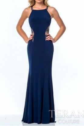 Navy Sheer Cutout Gown Dress P0082A