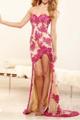 Terani  Floral Pink Nude High Low Gown Dress hi lo P3153