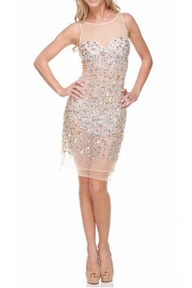 Fully Encrusted Crystal Silver Nude Mini Dress
