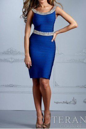 Glittering Blue Bandage Cocktail Dress C2003