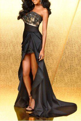 Terani Couture Black Nude Short Long Dress Hi Lo