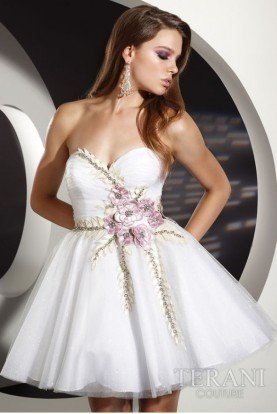 Terani  Short White Flower Applique Ball Dress