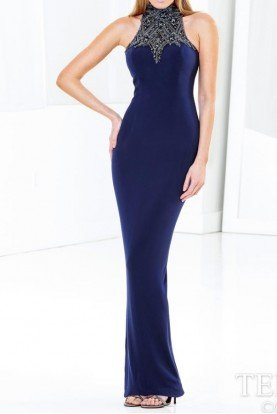 Terani Couture Halter Navy Sexy Evening Dress Gown E3755