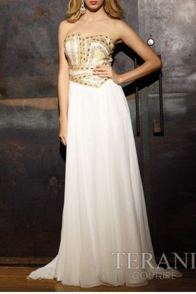 Elegant Beaded White Gown P613