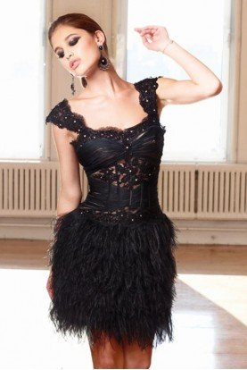 Lace and Feather Black Corset Dress 11148C