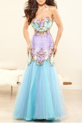 Aqua Mermaid Gown Dress P3118