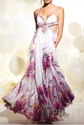 Terani Couture Floral Summer Dress With Cutouts P246