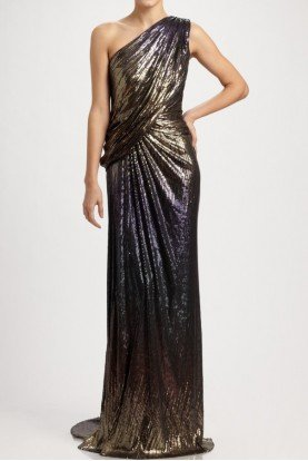 Ombre Sequin One Shoulder Gown