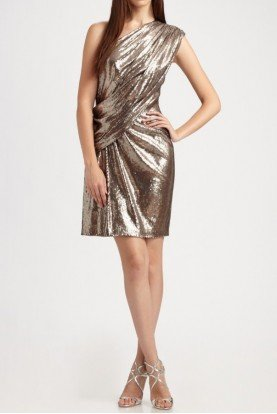 Tadashi Shoji Gold Sequin One Shoulder Cocktail Dress