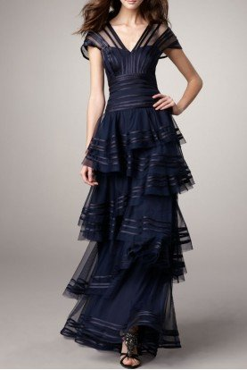 Navy Satin Trim Staggered Skirt Gown