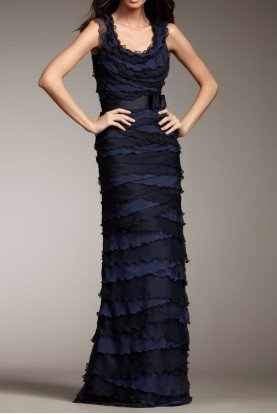 Tadashi Shoji Sleeveless Navy Tiered Chiffon Gown Evening Dress
