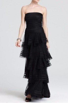 Black Strapless Tiered A Line Dress Evening Gown