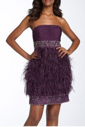 Purple Eggplant Strapless Feather Mini Dress