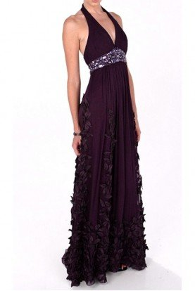 Flower Applique Halter Purple Eggplant Silk Gown