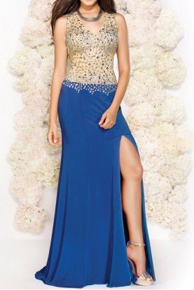 Shail K Blue Nude Sparkly Open Back Sleeveless Gown 3908