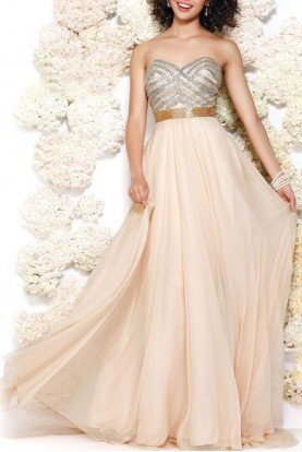 3902 Beaded Gold Nude Strapless Dress Gown
