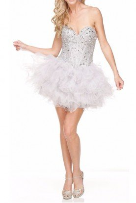Corset Tutu Style Ruffled Mini Dress Silver White