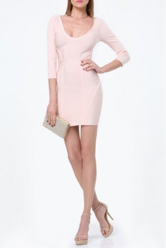Bebe Amy Bandage Cocktail Dress in Pale Blush