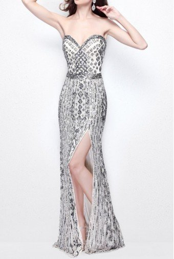 Primavera Couture Strapless Beaded Nude Gunmetal Dress Gown 1520