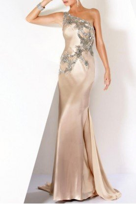 173057 Formal Jewelled One Shoulder Dress Beige