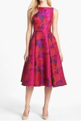 Adrianna Papell Tea Length Floral Midi Dress Fit Flare W