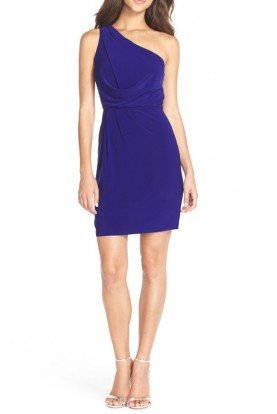 Adrianna Papell One-Shoulder Jersey Blouson Dress lectic Blue