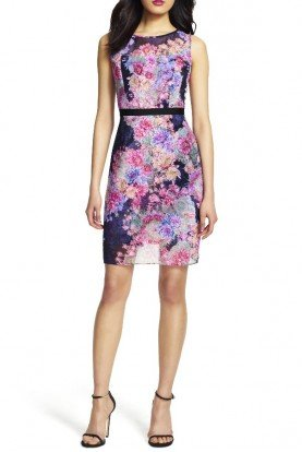 Adrianna Papell Floral Print Sheer Illusion Sheath Dress Day Cocktail