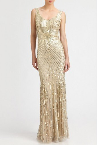 Aidan Mattox Gold Beaded Sequin Starburst Gown Dress