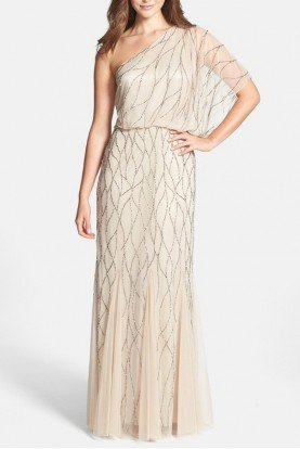 Beige Champagne Beaded One-Shoulder Blouson Dress