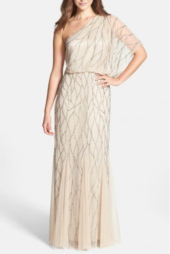 Adrianna Papell Beige Champagne Beaded One-Shoulder Blouson Dress