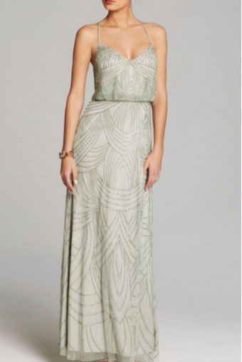 Adrianna Papell Mist Green Art Deco Beaded Blouson Gown Dress