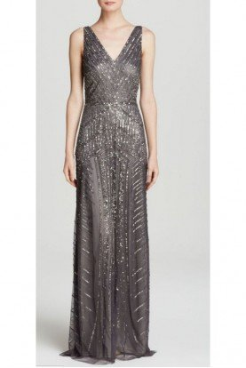 Gray Gunmetal Sleeveless V-Neck Silver Beaded Gown