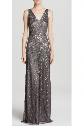Adrianna Papell Gray Gunmetal Sleeveless V-Neck Silver Beaded Gown