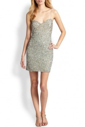 Aidan Mattox Gold Beaded Sequin Cocktail Dress